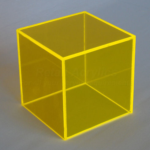 20cm fluorescent yellow acrylic display cube box. Black Bedroom Furniture Sets. Home Design Ideas