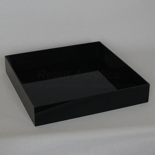 25cm Square Acrylic Tray Black