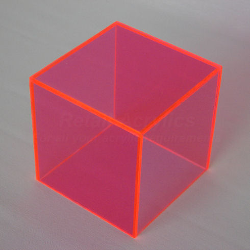 40cm Fluorescent Pink Acrylic Display Cube Box