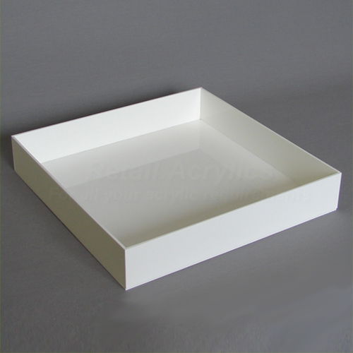 10cm  Square Acrylic Tray - White