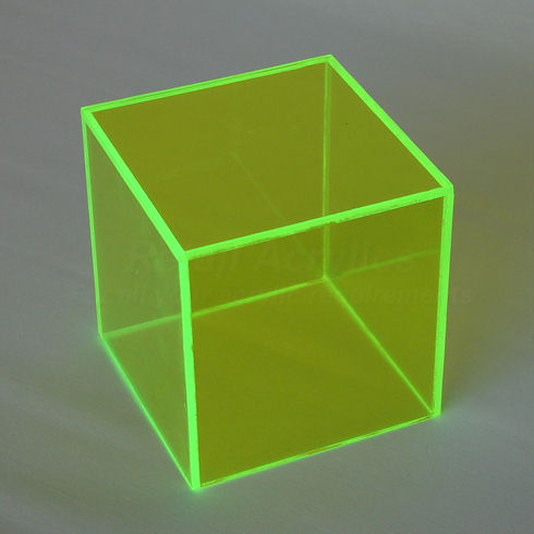 15cm - Fluorescent Green Acrylic  Display Cube / Box