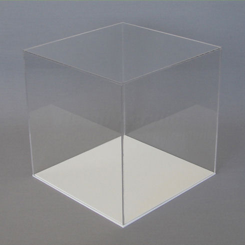 20cm  Clear Acrylic Display Case with White Base