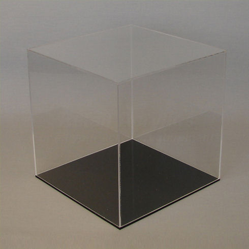 25cm  Clear Acrylic Display Case with Black Base