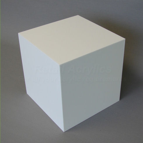 25cm - White Acrylic Display Cube / Box