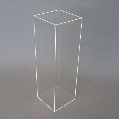 40cm Square - Clear Acrylic Display Pedestal / Plinth - 90cm Tall