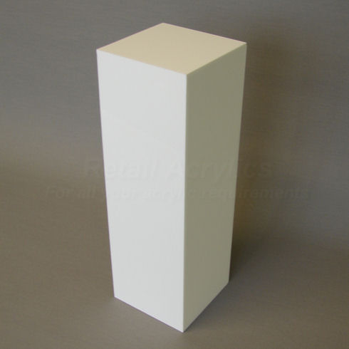 40cm Square - White Acrylic Display Pedestal / Plinth - 75cm Tall