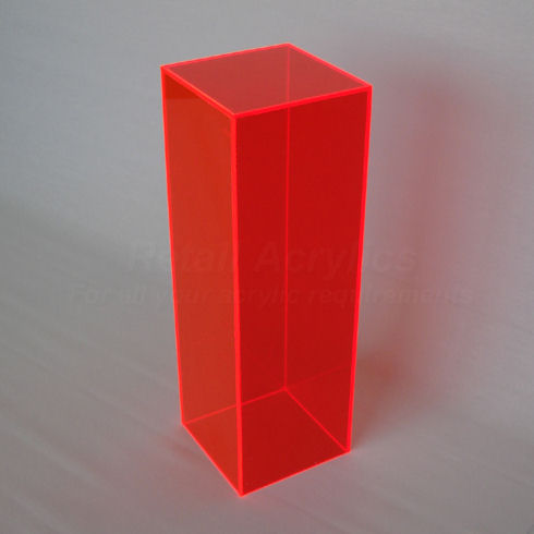 40cm Tall - Fluorescent Red Acrylic Pedestal / Plinth