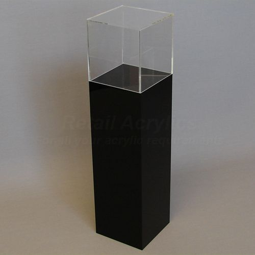 90cm Tall - Black Acrylic Display Pedestal / Plinth with Display Case