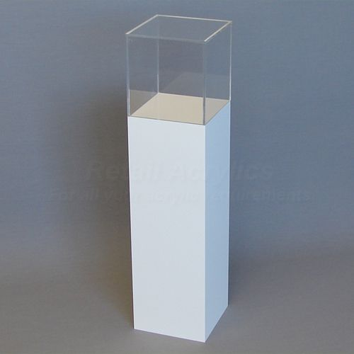 90cm Tall - White Acrylic Display Pedestal / Plinth with Display Case