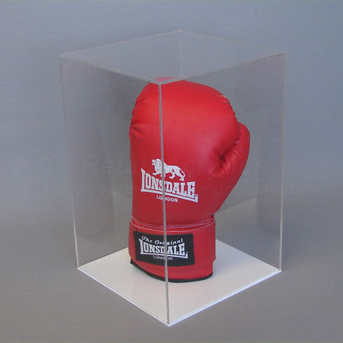 Acrylic Display Case Ideal For Upright Gloves With A White Acrylic Base.