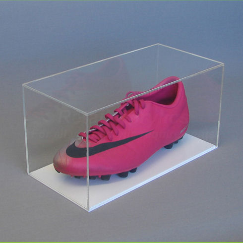 Football Boot Display Case with White Base