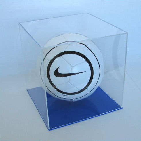Football Display Case with Blue Base