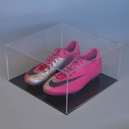 Pair of Football Boot - Display Case with Black Base