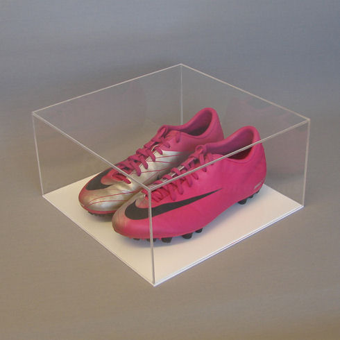 Pair of Football Boot - Display Case with White Base