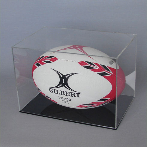 Rugby Ball Display Case with Black Base