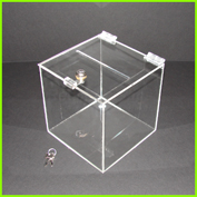 Clear acrylic lockable ballot / donation box with slot